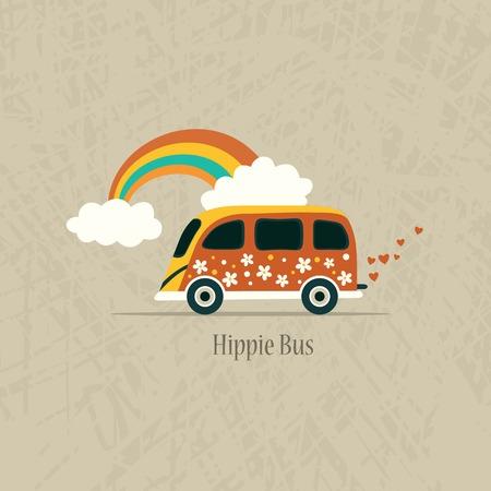 passenger buses: Van Hippie. Ilustración vectorial