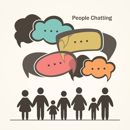 family discussion: People Chatting. Group of people with colorful dialog speech bubbles.