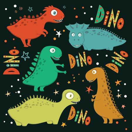 droll: Set of funny cartoon dinosaurs on black background