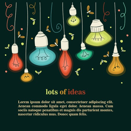 Prodigy: Illustration of different types of bulbs.Lots of ideas background Ilustracja