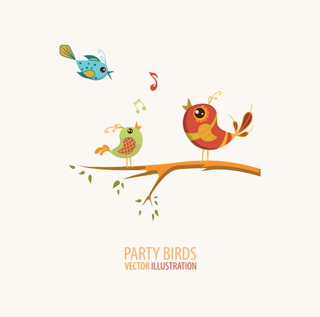 Illustration of Birds Singing perched on a branch of a tree Stock Illustratie