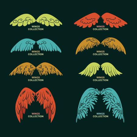 animal angelic: Wing set, stylized wings,vector illustration Illustration