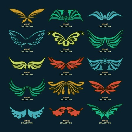 tattoo wings: Wings collection (set of wings),vector illustration Illustration