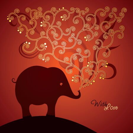 Cute elephant on red background, vector illustration