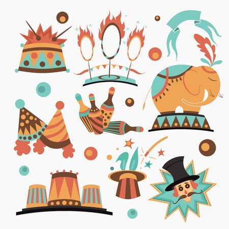 birthday decoration: Cute circus elements collection, vector illustration