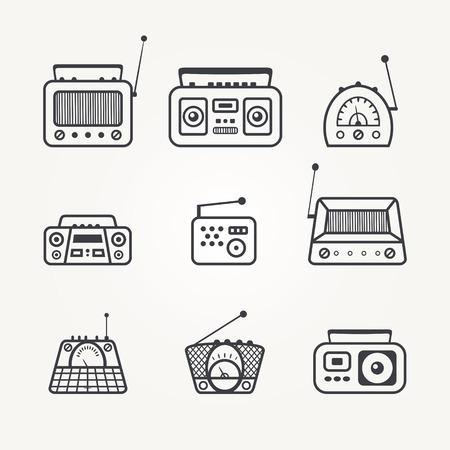 ollection: ollection of retro radio icon. Vector illustration Illustration