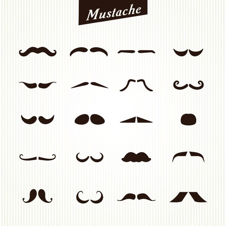 chaplin: Set of mustaches isolated on white background. Vector illustration Illustration