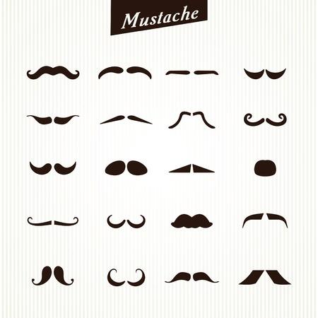 Set of mustaches isolated on white background. Vector illustration Ilustrace