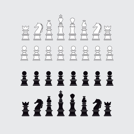 king master: Chess pieces silhouette, vector illustration