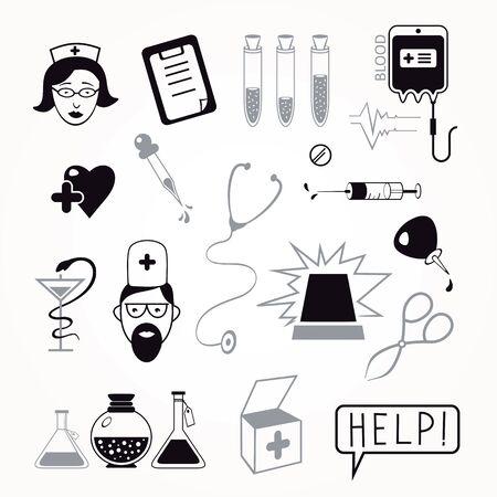 Health care and medicine icon set. Vector illustrations