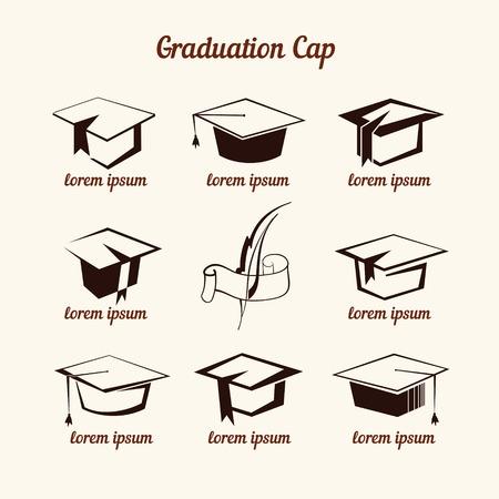 Academic cap icons set Ilustrace