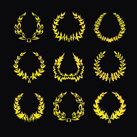 Set of gold wreaths on a black background. Vector illustration Illustration
