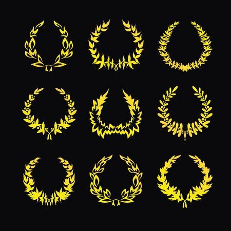 Set of gold wreaths on a black background. Vector illustration Ilustrace