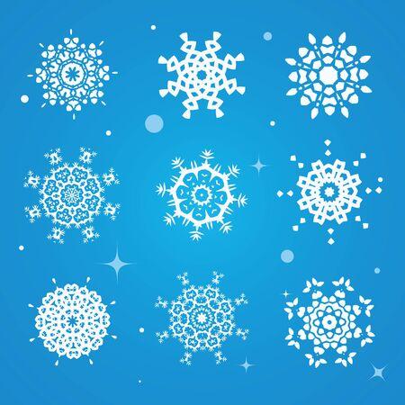 Snowflake winter set vector illustration Ilustrace