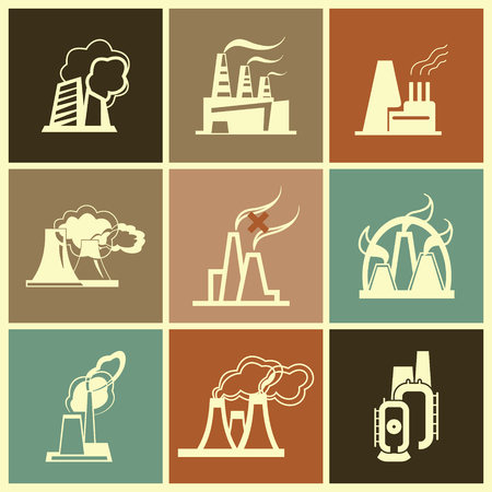 elaborate: Industrial Factory Icons - Vector Set