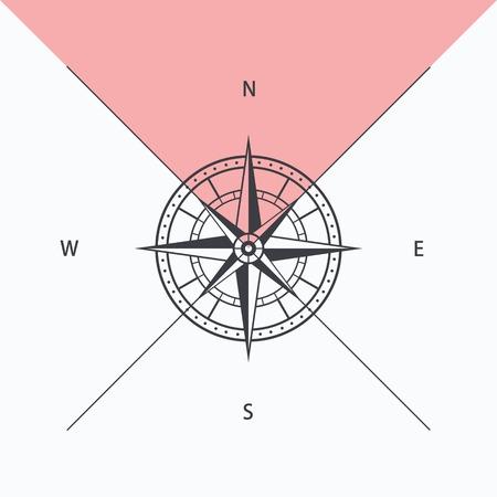 rosa dei venti: Bussola rosa isolato, illustrazione vettoriale