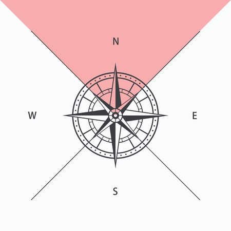 lost world: Compass rose isolated, vector illustration Illustration