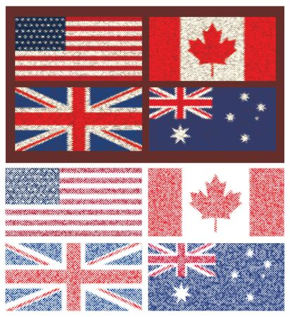 Set of 4 flags (Canada, Great Britain,Australia, USA).In the style of mosaic.Vector illustration