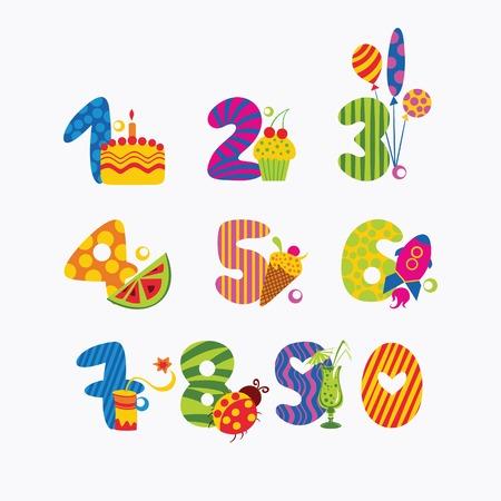simbolos matematicos: ilustración de dibujos animados de los números del cero al nueve