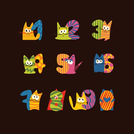 Collection of animals number for children Ilustrace