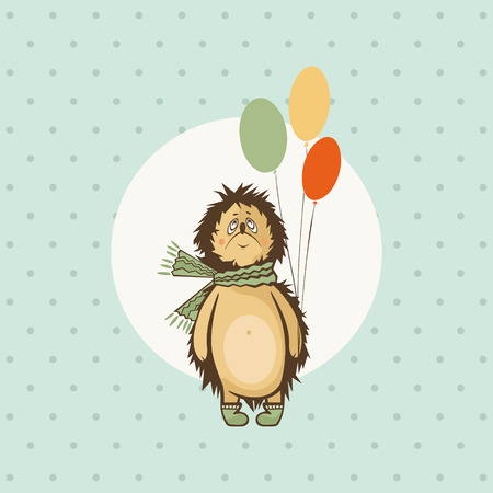 Cute hedgehog with balloons. Vector illustration Ilustrace