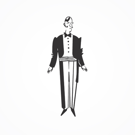 the showman: Black and white stylized showman