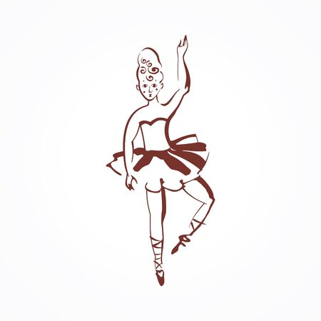Stylized circus ballerina Vector illustration