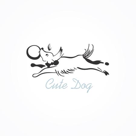 Vector illustration of a dog running Ilustrace