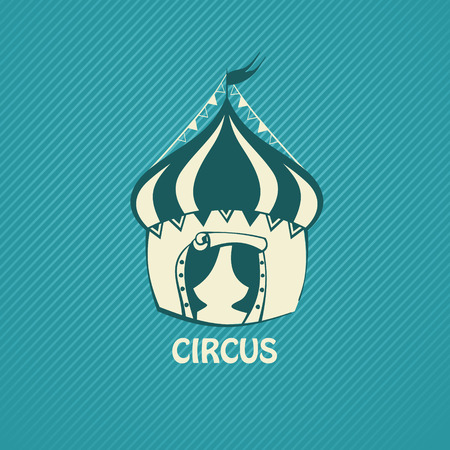 Circus tent on a blue background