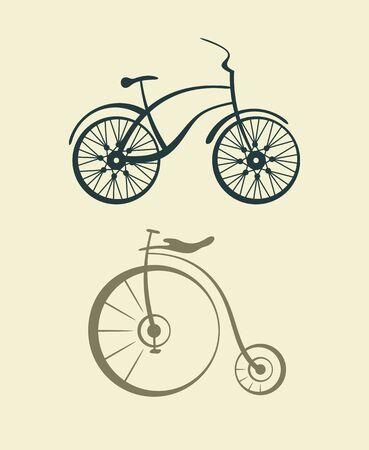 Two old retro bicycle. Vector illustration