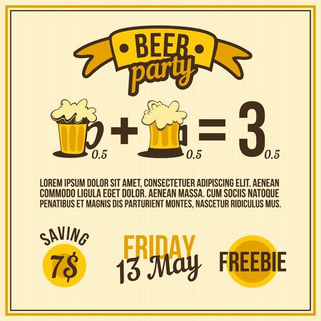 Drink Beer template or design for pub. Ilustrace