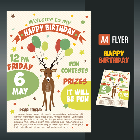 Postcard birthday with a cute deer and balloons