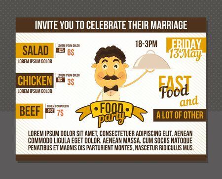 Food party invitation. Template menu design.