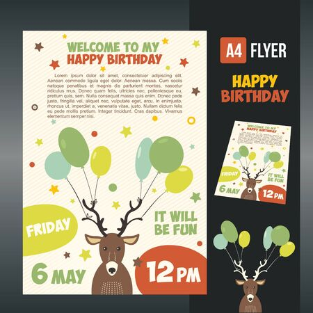 birthday greetings: happy birthday card design. Illustration