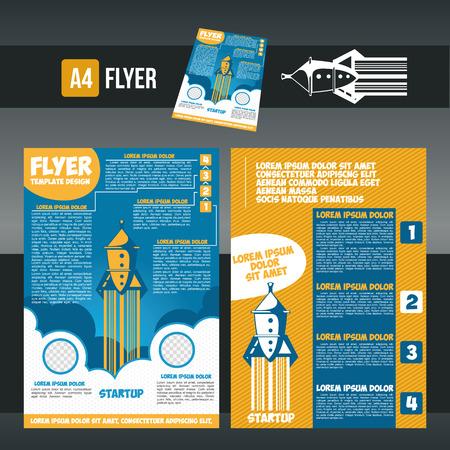 illustration flying rocket brochure design templates in A4 size. Ilustrace