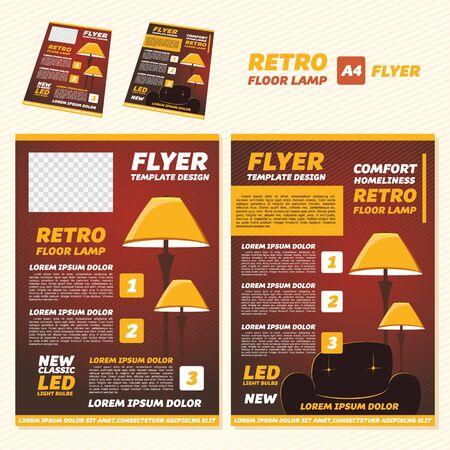 illustration retro floor lamp brochure design templates in A4 size.