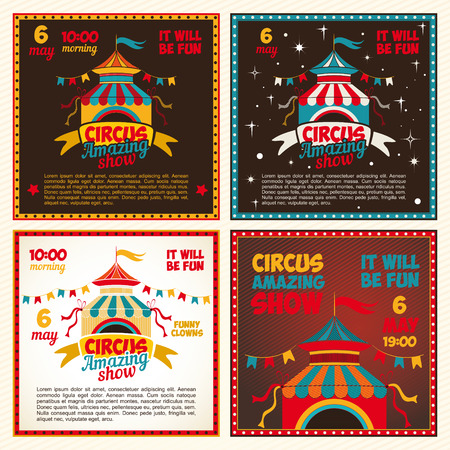 cartoon circus: Set of vintage posters for the circus. Invitation to the show. illustration