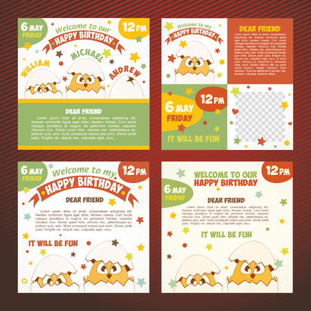 girl happy: Set birthday invitations with cute chicks Illustration