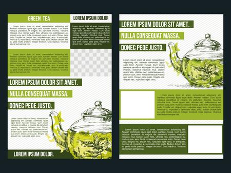 Two green tea design template Ilustrace