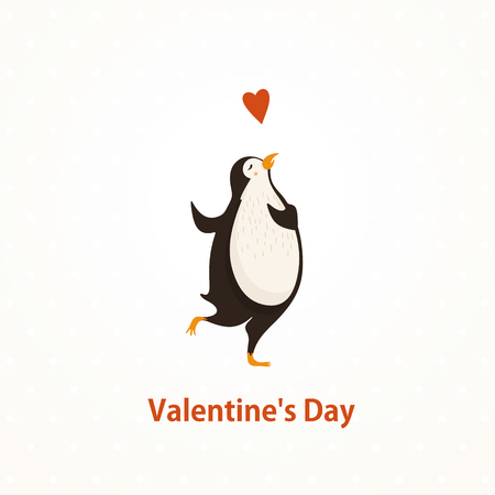 Cute lovely penguin.Valentine day. illustration Illustration