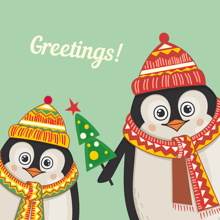 Christmas greeting card with cute penguins. illustration