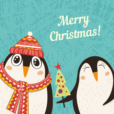 greeting card with a penguins. illustration