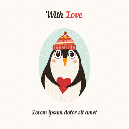 Cute penguin with heart. illustration Ilustrace