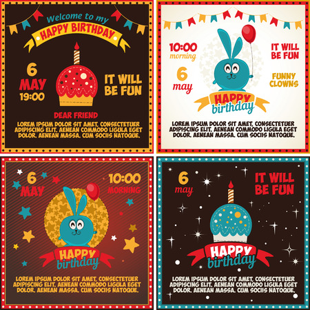 A set of cards birthday. illustration
