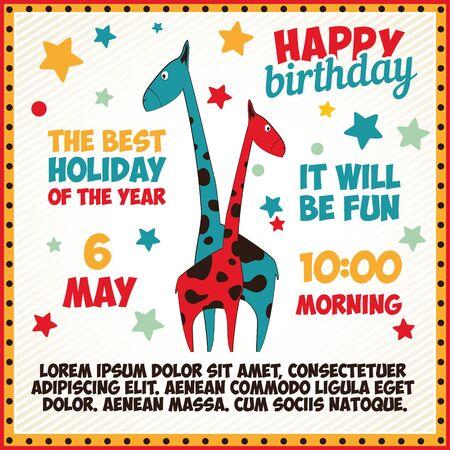 greetings card: happy birthday greeting card. illustration Illustration