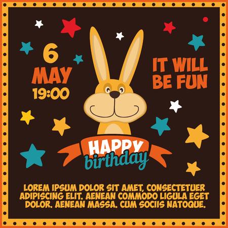 Birthday Invitation with cute bunny.