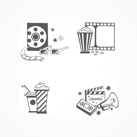 Set 4 cinema icons Ilustrace