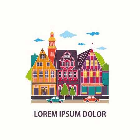 Colorful houses facades. Cityscape. Vector illustration