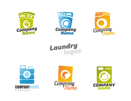 bleached: Collection of laundry. Washing machines. Vector illustration Illustration