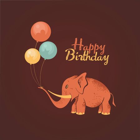 Postcard birthday with a cute elephant. and balloons vector illustration